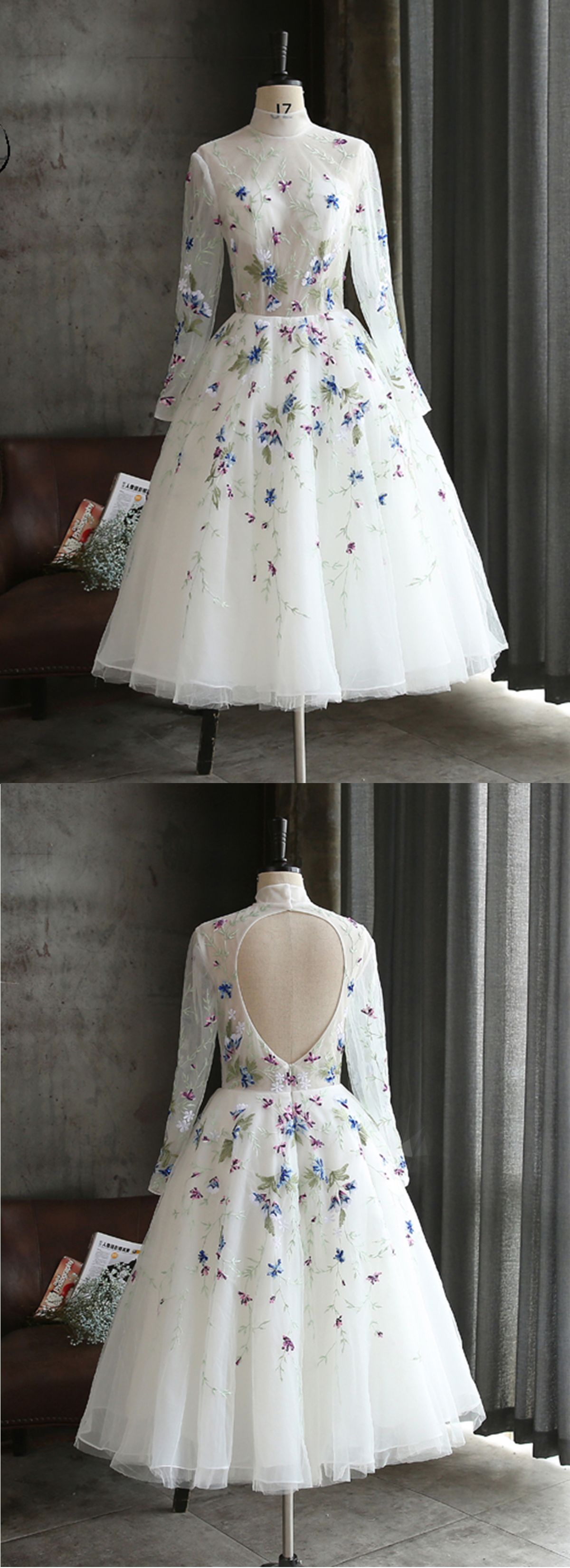 White flower lace long mid length party dress long sleeves