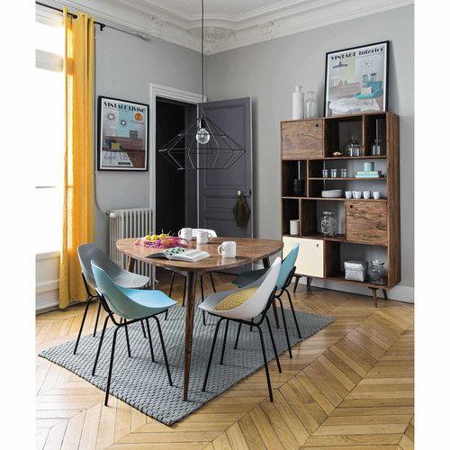 Table de salle à manger vintage en bois de sheesham massif L 136 cm - Decoration Salle Salon Maison