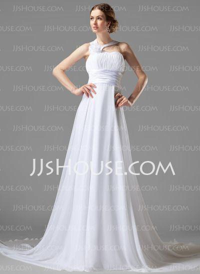 Empire One-Shoulder Court Train Chiffon Wedding Dress With Ruffle ...