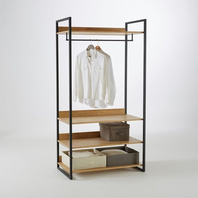Grand Module Penderie Pin Massif Teinté, Hiba | Shelves