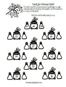 Potions: Ten More or Less (Harry Potter Math Worksheet) | car fun ...