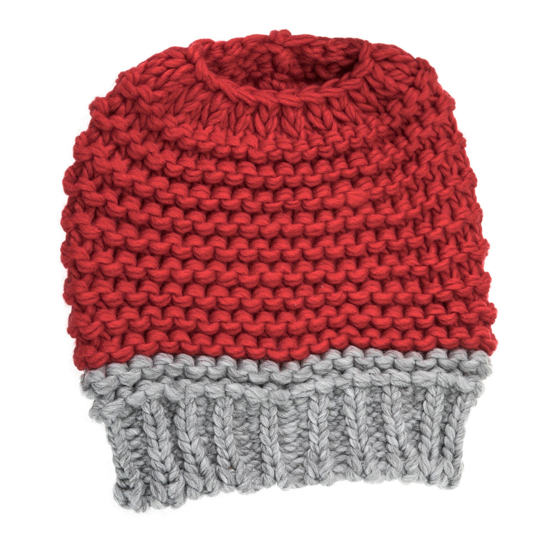 Knitted Bun Hat-Crimson