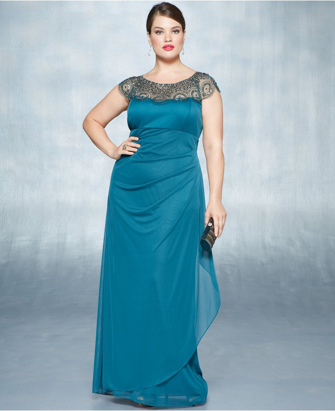 Xscape Plus Size Cap-Sleeve Illusion Beaded Gown - Dresses - Plus ...