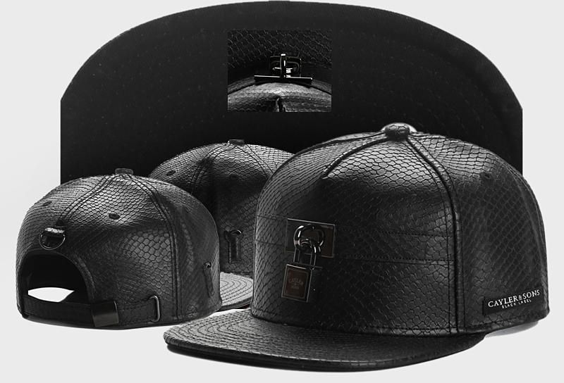 Men's Cayler & Sons Black Label C & S Lockdown Croc Leather Strapback Hat - Black