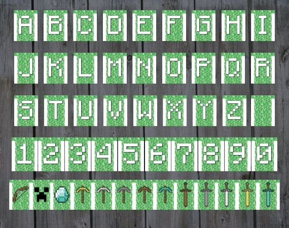 minecraft party banner all letters numbers 5 swords 5 pickaxes rh pinterest com