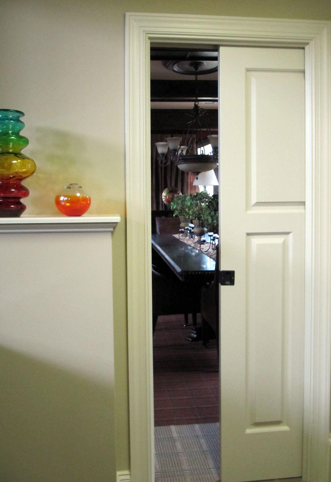 Craftsman Style Pocket Door Pocket Doors Kitchen Cabinets French Door Refrigerator