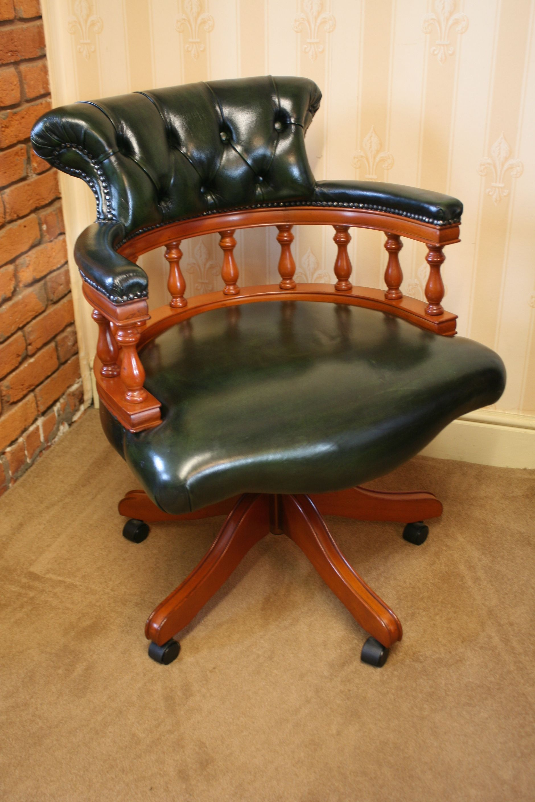 Superb Captains Swivel Desk Chair Bottle Green Leather Upholstery Bralicious Painted Fabric Chair Ideas Braliciousco