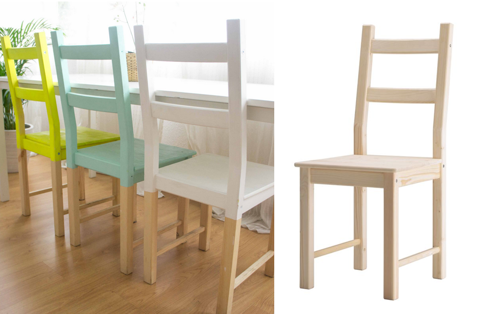Ikea Hack Une Chaise Ivar Ide Customisation Personnalisation Peindre Vert Menthe Jaune Blanc Dip Dye