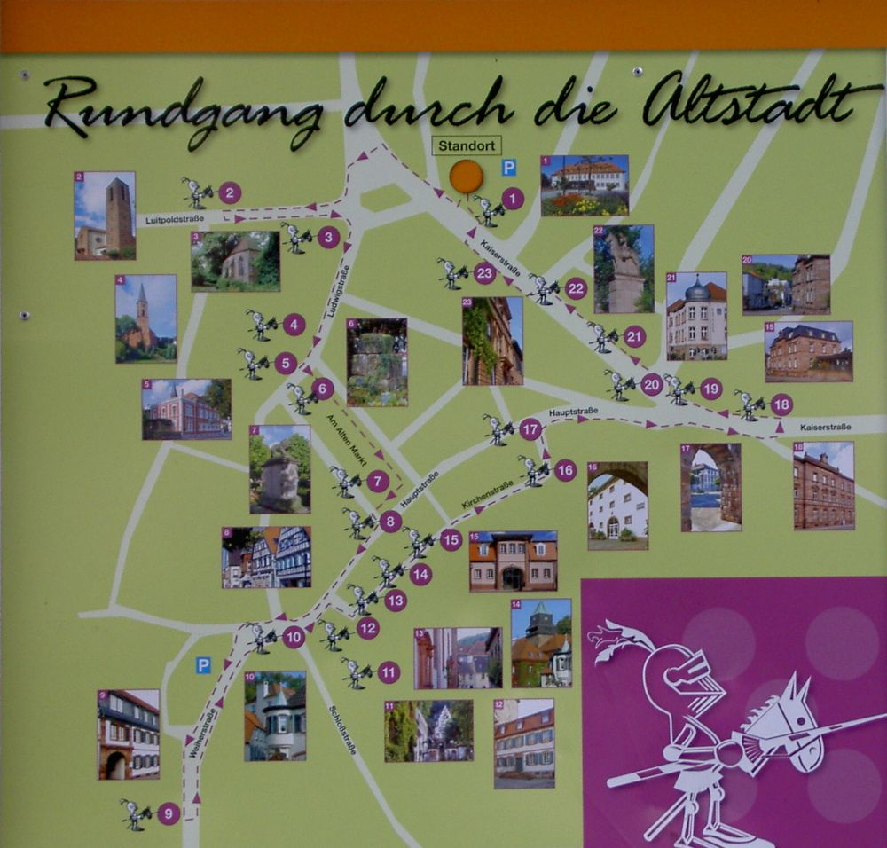 A self-guided tour of Landstuhl Germany. Use the Web link to also reserve a guided tour! [Übersicht Rundgang durch die Altstadt]