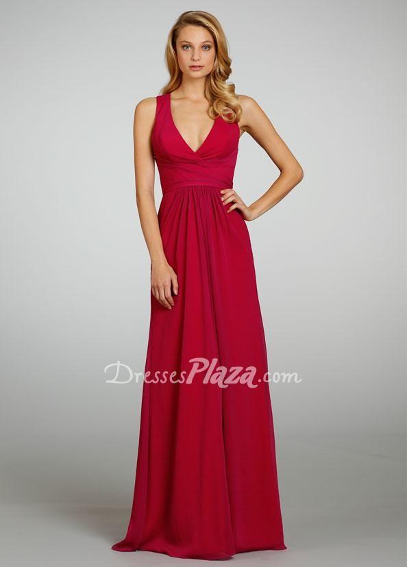#flattering #redchiffon #sleevelessaline #floorlength #keyholeback #bridesmaiddress