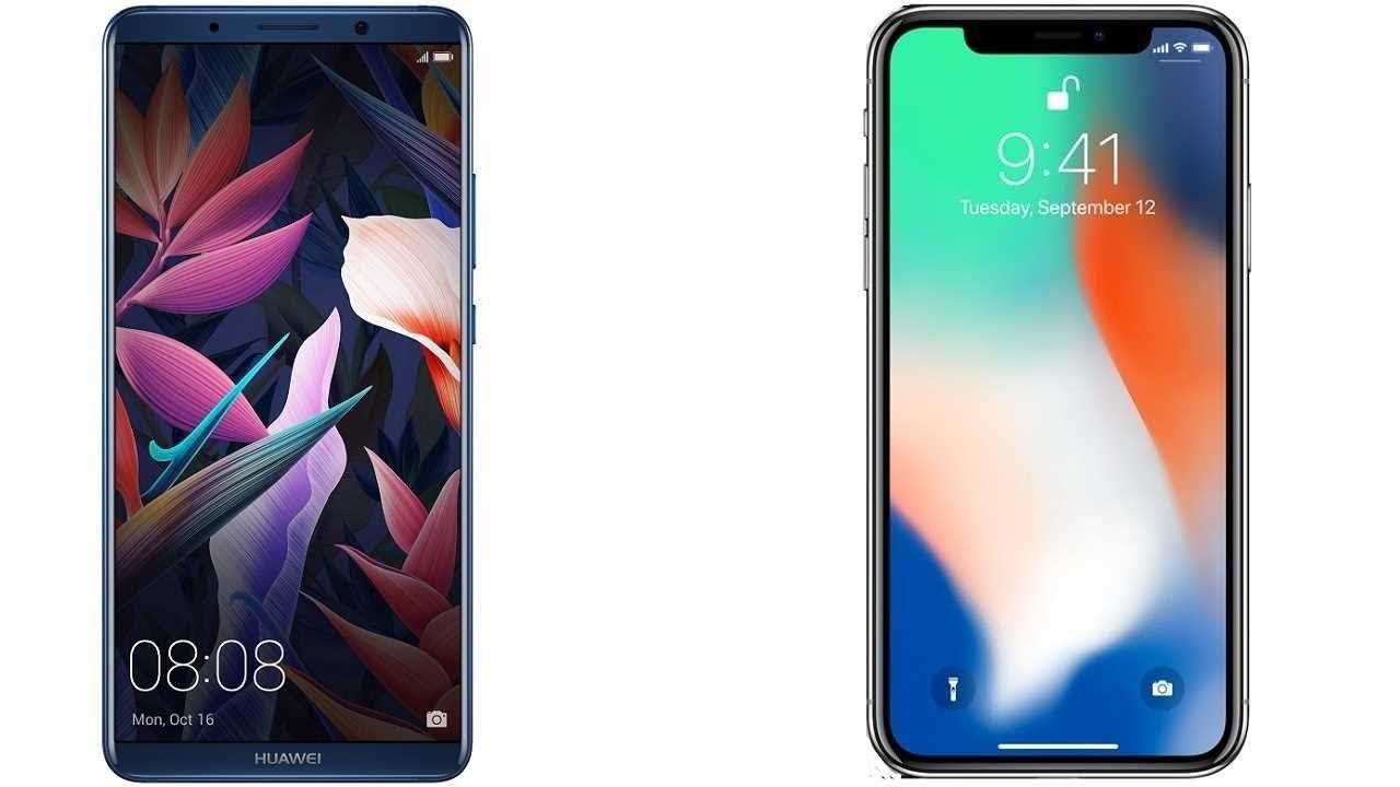 يتشابه جوالي آيفونx وميت10برو في التصميم العصري والذي كان سبب تخلي جوال آبل عن قارئ البصمة واستبدالها بميزة Face Id Huawei Huawei Mate Apple Iphone