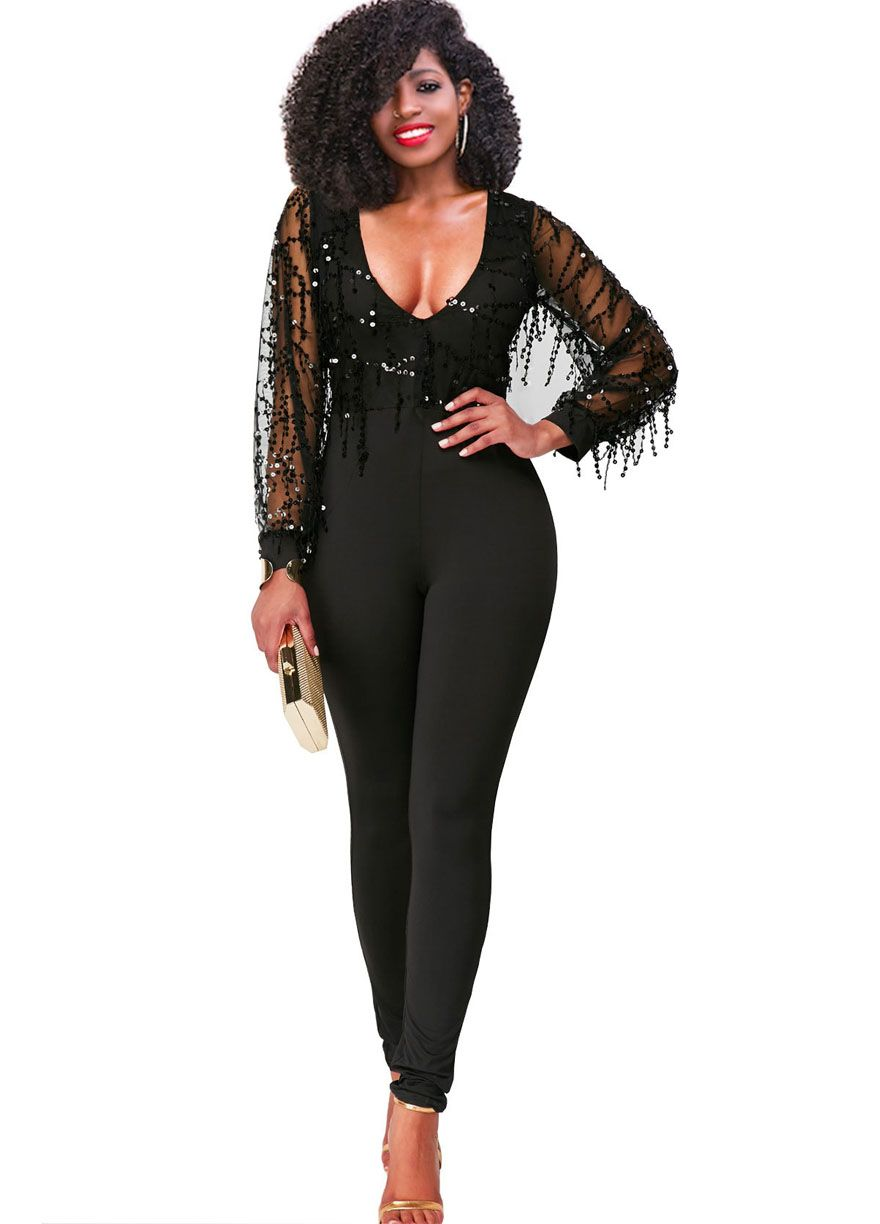 683ca3dc4e874 Long Sleeve Flowing Sequins Top Fitted Jumpsuit Clubwear Jumpsuit Clubwear  Clothing Sexy Lingeire