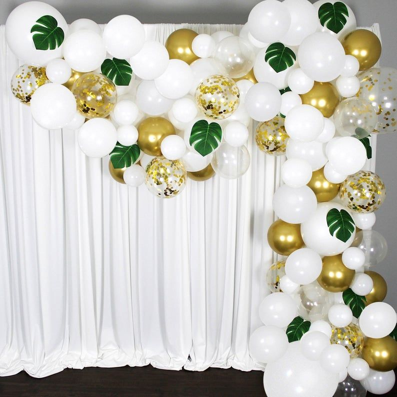 Balloon Garland Arch Kit in White and Gold with Tr