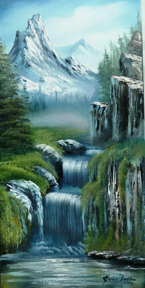 Bild Zum Mahlen Bild Mahlen Zum Landscape Paintings Waterfall Paintings Landscape Drawings