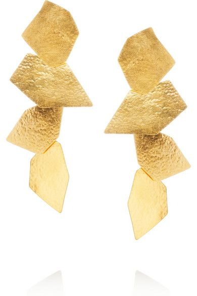 'Cailloux' Hammered Gold-plated Earrings by Hervé Van der Straeten