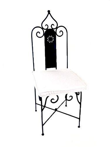 Original Orientalischer Stuhl Gartenstuhl Aus Metall Schwarz Andalusien |  Marokkanischer Balkonstuhl Inkl. Sitzkissen Stuhlkissen | Eiseu2026