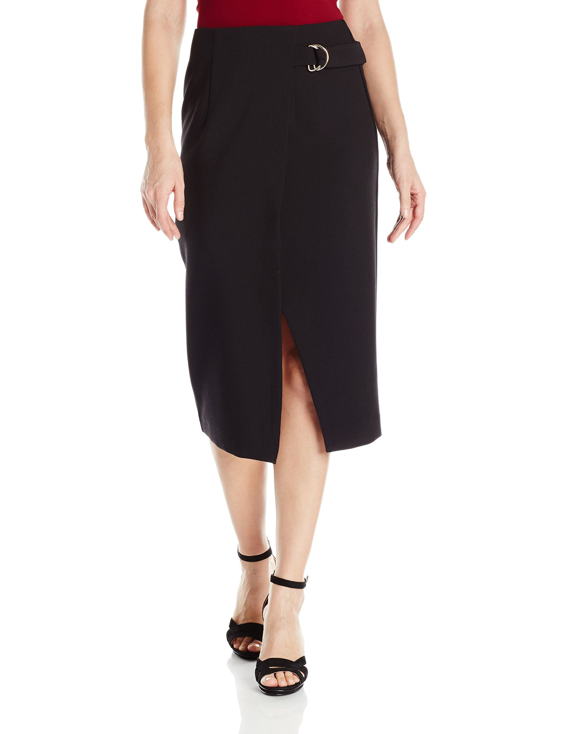 2f9490b441b XOXO Womens Faux Wrap Front Skirt with DRing Black XLarge     Click picture  for even more details. (This is an affiliate link).  skirts