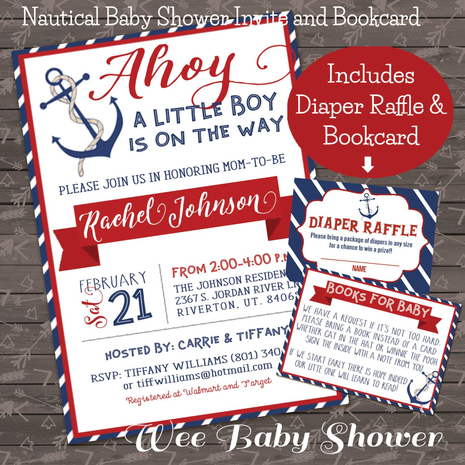 Nautical Baby Shower Invite, Diaper Raffle, and Bookcard combo by ...