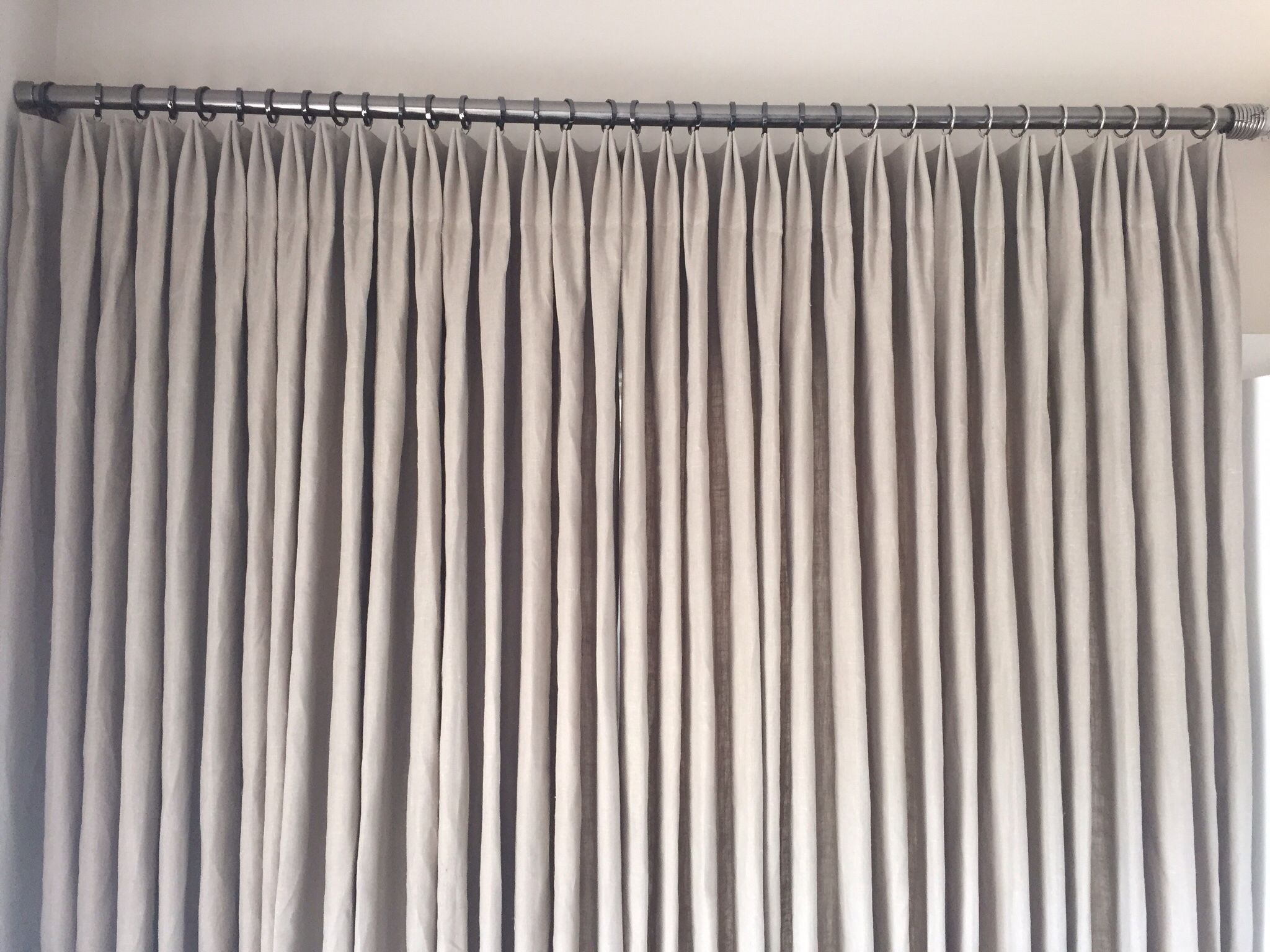 Euro Double Pleat Heading On Linen Curtains Drop Cloth