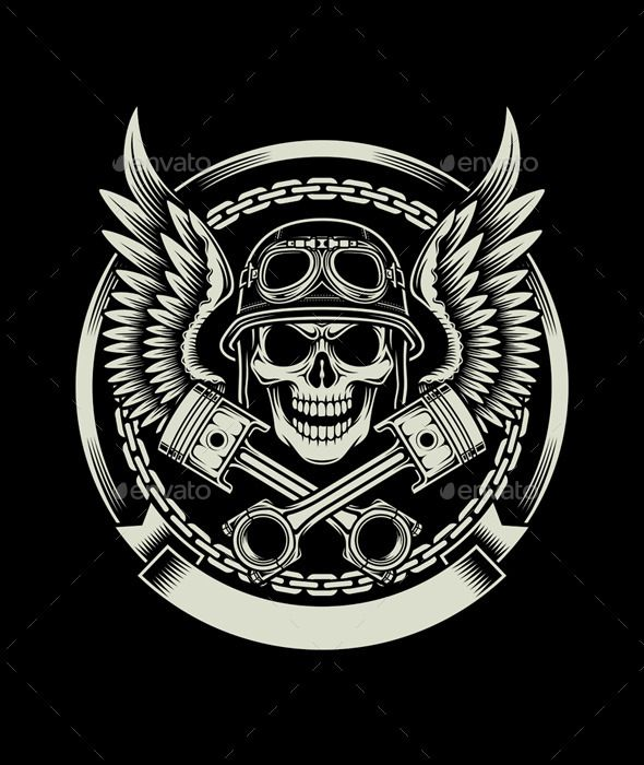 Vintage Biker Skull With Wings And Pistons Emblem Art In