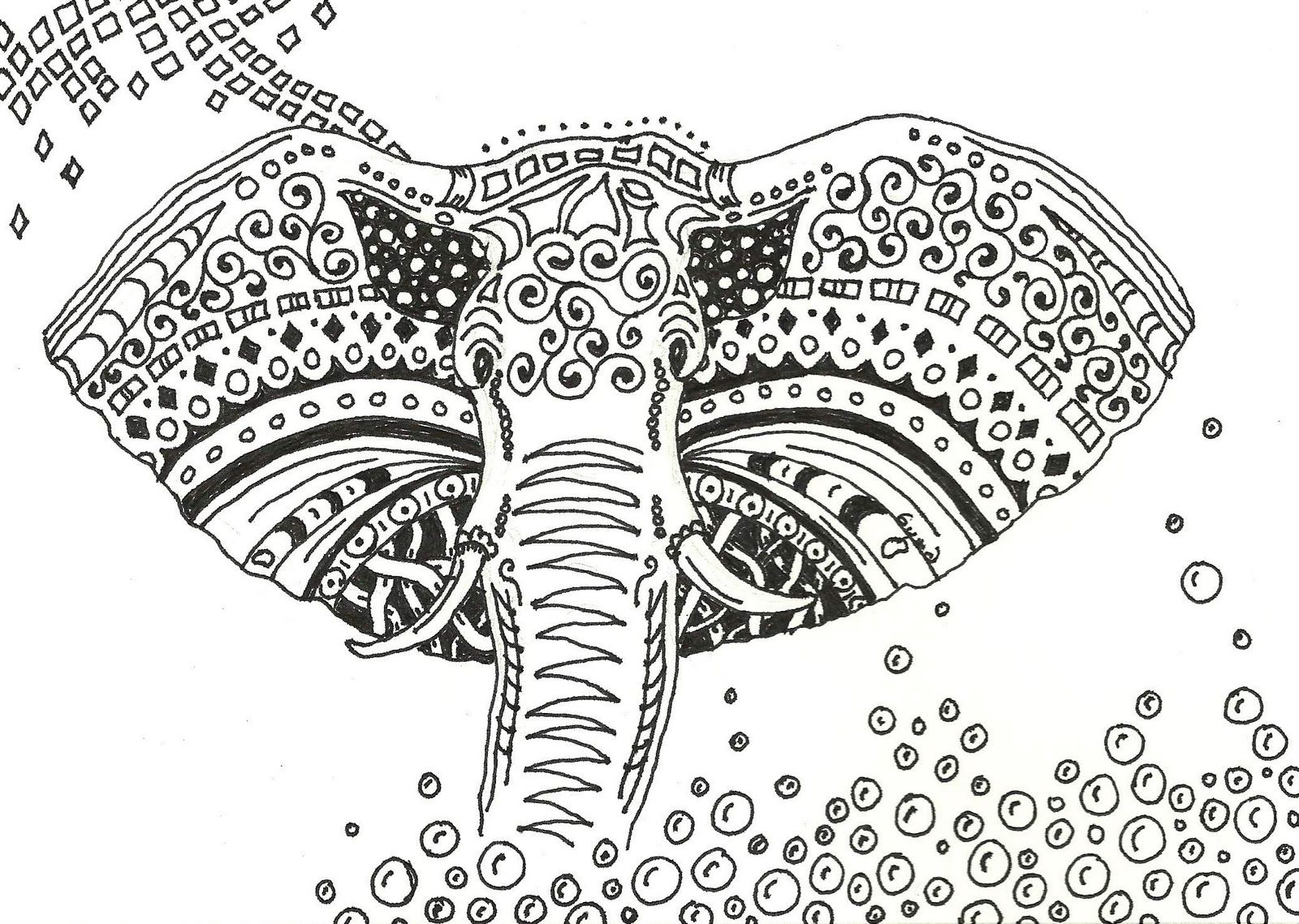 Floral elephant Coloring Pages for Adults | Zentangled Elephant ...