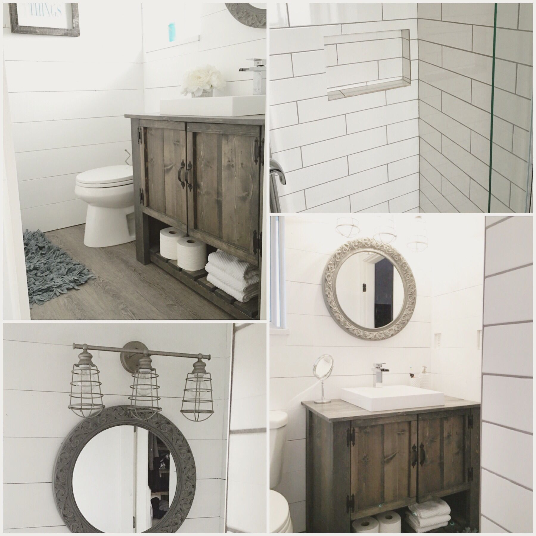 Rustic bathroom vanity DIY. White subway tile. Shiplap bathroom ...