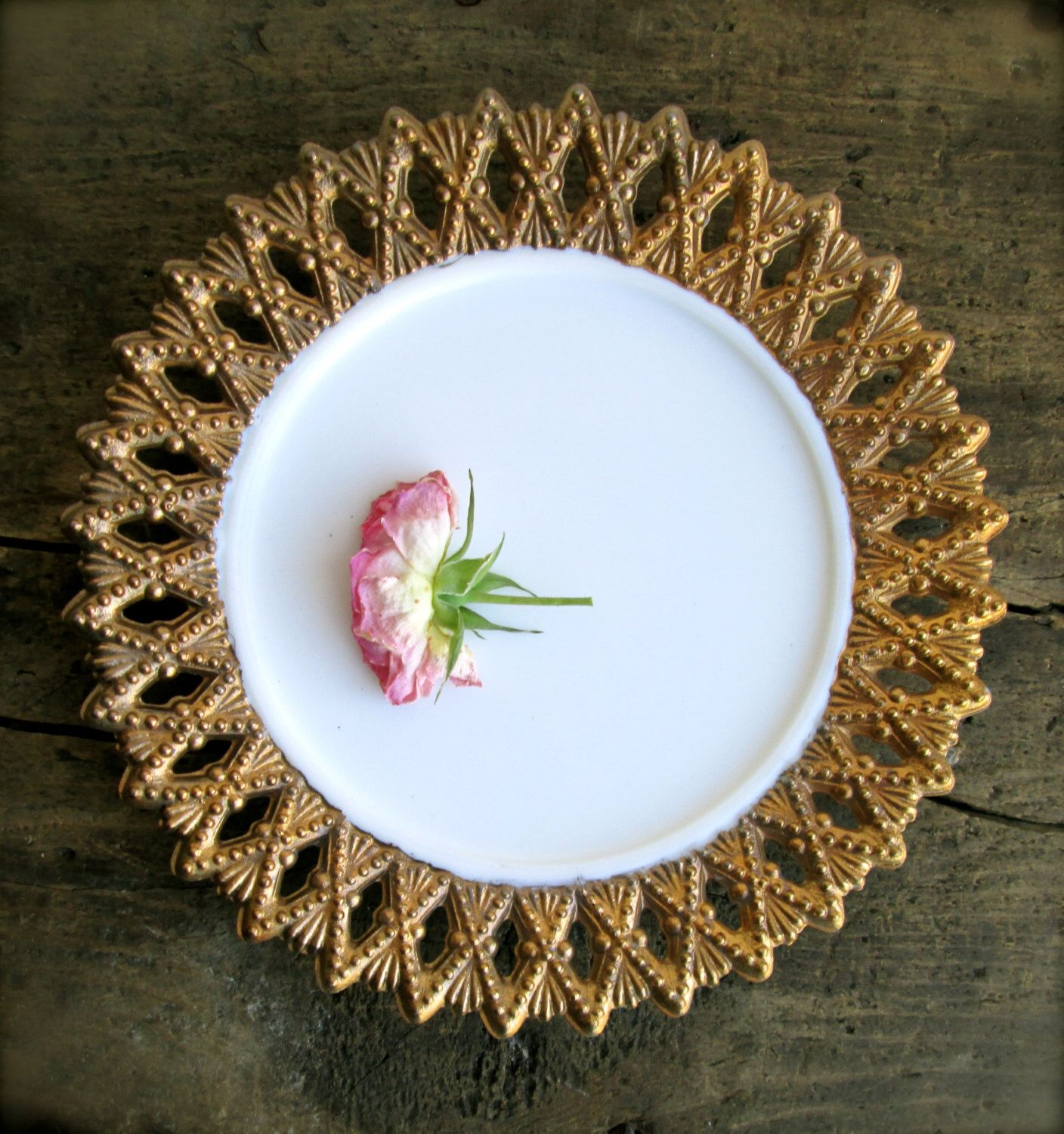 Small Decorative Plates Vintage Milk Glass Plate Gold And White Decorative Plate Home