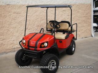 Newly Built Flame Red Custom Gas Terrain Golf Cart For Sale In North