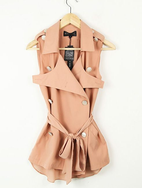 ✕ Solid Pink Lapel Sleeveless Double Breasted Slim Chiffon Shirt / #shirt #summer #trench