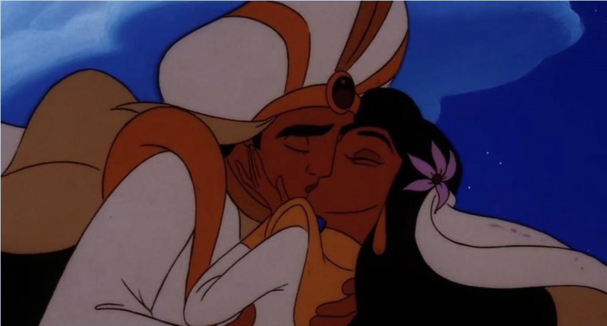 Jasmine and Aladdin sharing a romantic kiss on their Royal Wedding ...