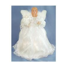 Angel with White Gown and Feathers Lighted Tree Topper | Christmas ...