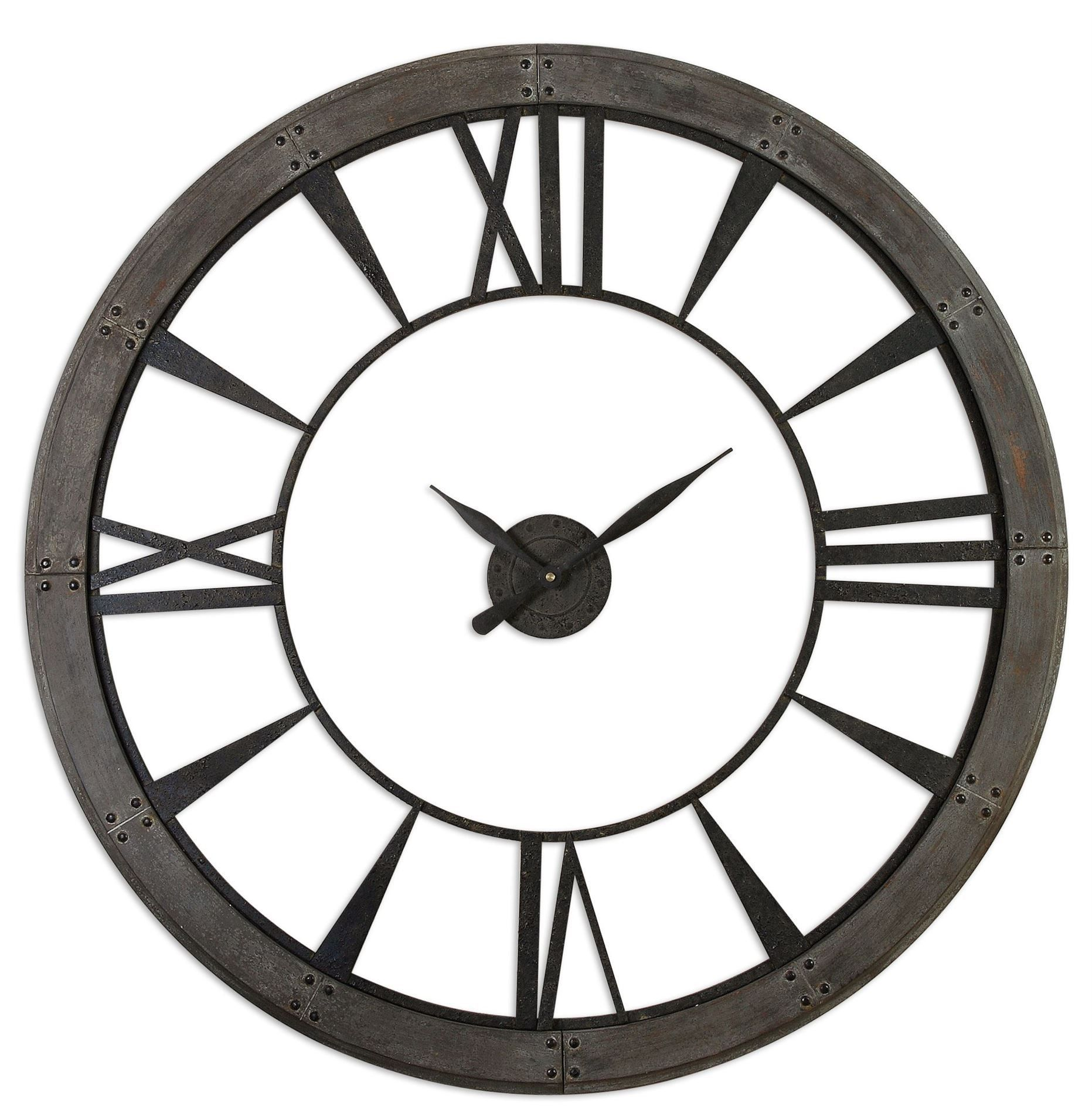 Inexpensive Wall Clock Ronan Transitional Large Dark Rustic Bronze Wall Clock By