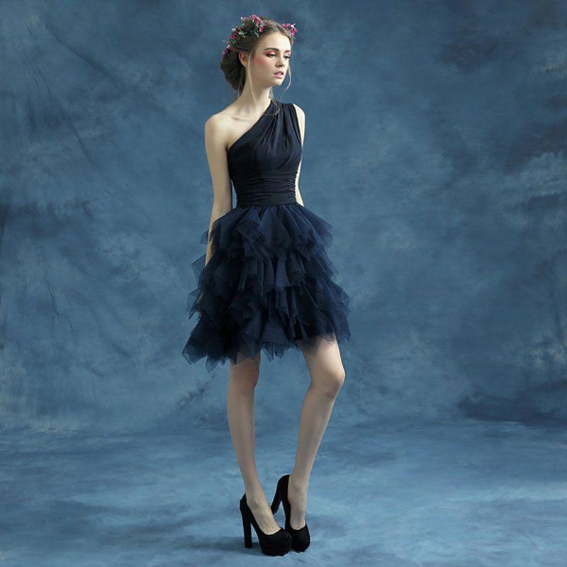 Deep Blue Chiffon One Shoulder Short Dress   Women Wedding Gowns ...