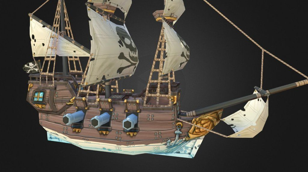Low poly pirate ship WIP11hrs to create using- 3ds max- 3d