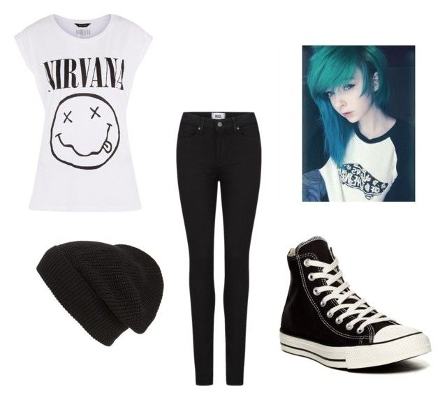 """Nirvana"" by bluepeacesign on Polyvore featuring Paige Denim, Converse and Phase 3"