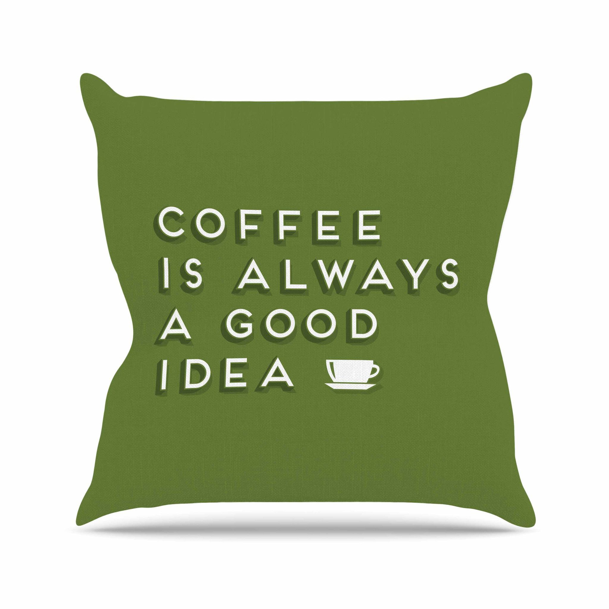 """Busy Bree """"Good Idea"""" Green Tyopgraphy Throw Pillow"""