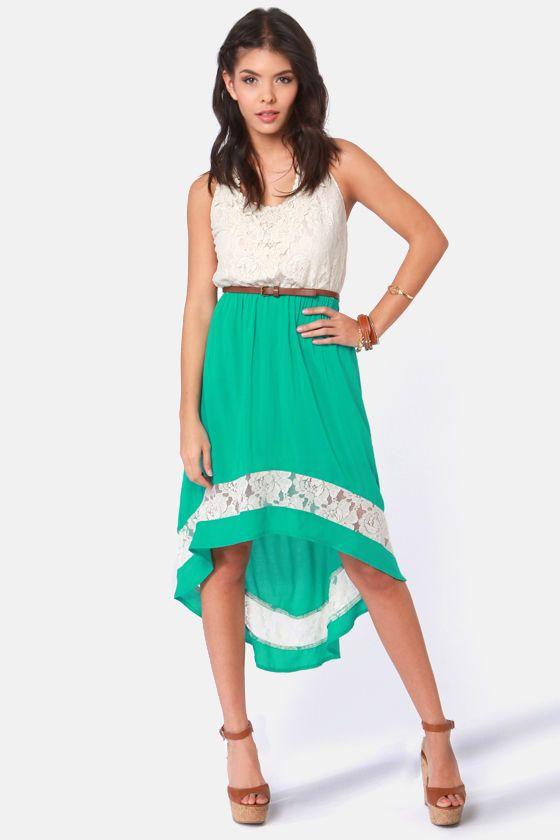 Pretty Lace Dress - Teal Dress - Cream Dress - $45.00