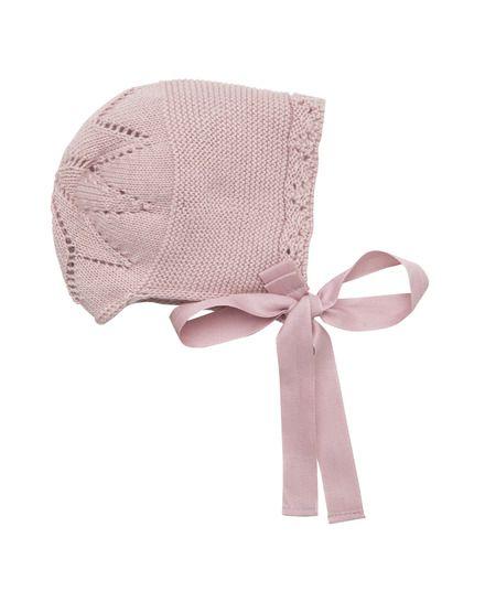 Gorro de bebé niña Pili Carrera de algodón peinado en color rosa palo 9504af766b1