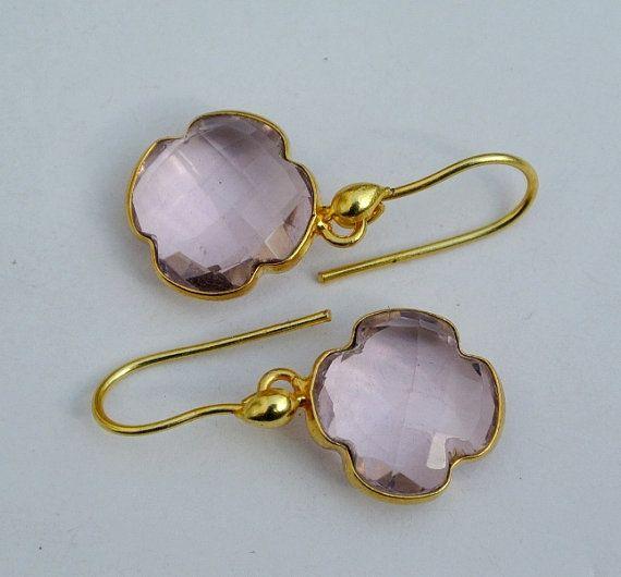 Gold Plated Bezel Set Rose Pink Quartz Clover by gemsnjewelryworld
