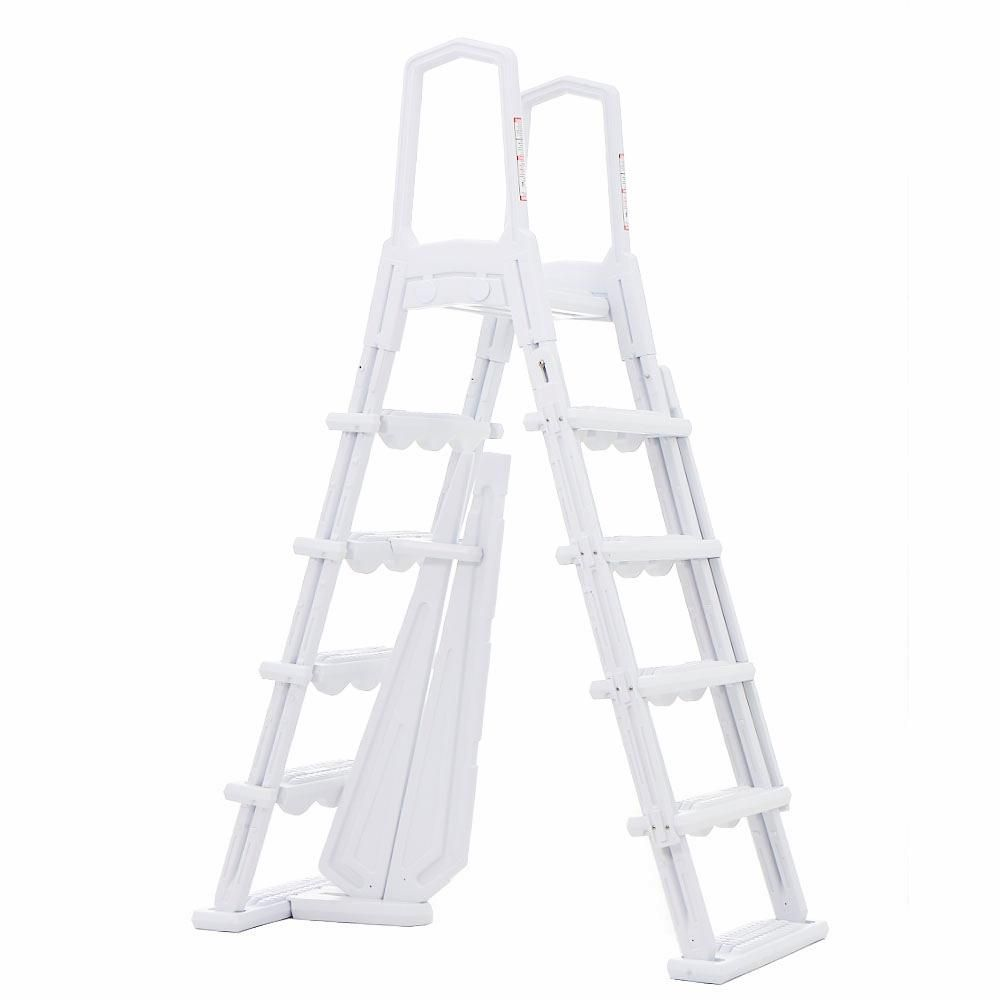Xtremepowerus Above Ground Swimming Pool Ladder Heavy Duty Step System Non Slippery Entry 75136 The Home Depot Pool Ladder Swimming Pool Ladders Above Ground Pool Ladders