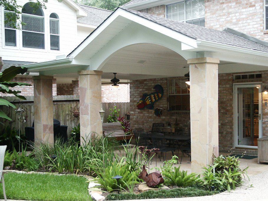 Gable roof patio cover with arch flagstone columns and for Gable patio designs