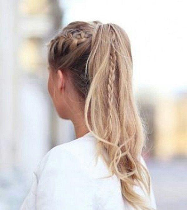 Varios peinados peinados con cola alta Fotos de los cortes de pelo de las tendencias - Coleta trenza   Peinado con cola de caballo alta, Peinados ...