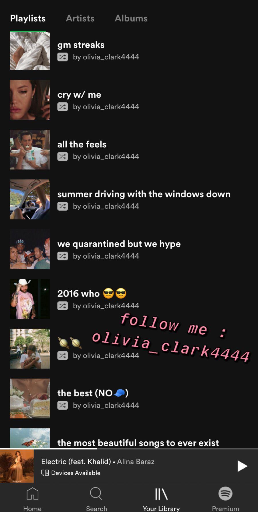 spotify olivia_clark4444 🌟🌟🌟 in 2020 Artist album