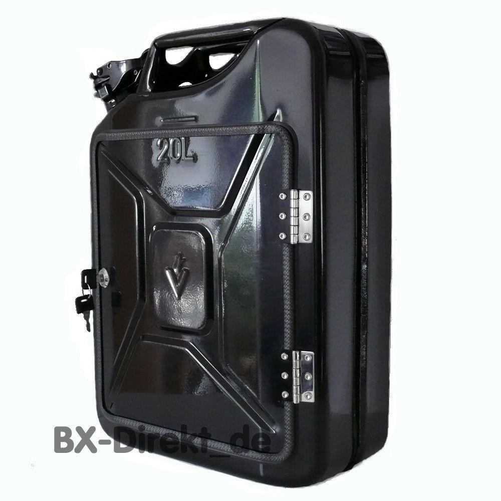 kanister abschlie bar schwarz mit schlo stahlkiste transportkiste box kanibox kanister kiste. Black Bedroom Furniture Sets. Home Design Ideas