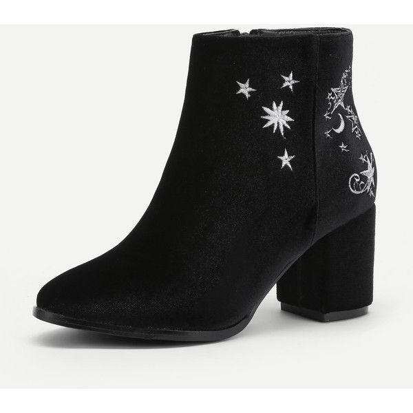Star Moon Embroidered Chelsea Ankle Boots (£33) ❤ liked on Polyvore featuring shoes, boots, ankle booties, chelsea boots, embroidered booties, star boots, beatle boots and chelsea bootie