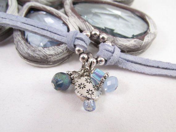 Leather Charm Bracelet, Periwinkle Silver Flower Charm Bracelet, Handmade by Stylized Designs, $19.00