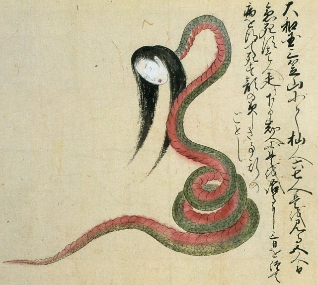 The snake woman pictured here was reportedly encountered by six people on Mt. Mikasa in Nara prefecture. Five of the eyewitnesses died instantly. The sixth person survived long enough to make it home and tell the tale, but he grew ill and died three days later. The snake-bodied woman resembles the notorious nure-onna, except that this one has a beautiful face.