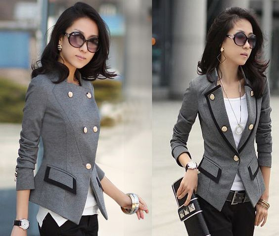 chic womens one button jackets short suit blazer frills slim ol coat outerwear chaquetas