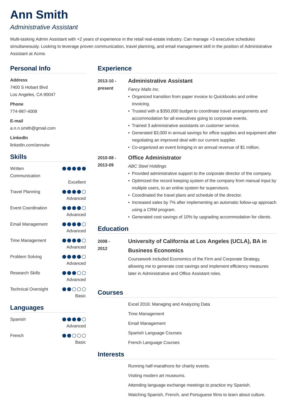 administrative assistant resume template simple in 2020