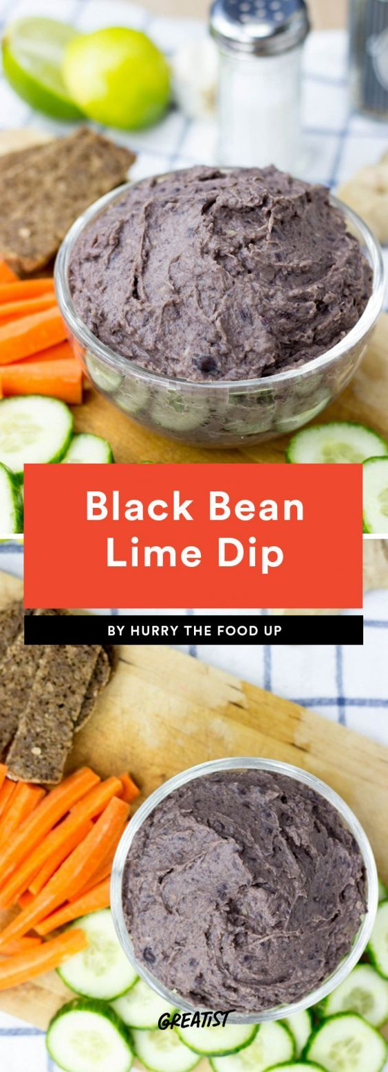 Black Bean Lime Dip Swap out the canned French onion dip (does it freak anyone else out that it doesn't come refrigerated?) for this hearty black bean dip. There are only five ingredients involved—beans, lime, olive oil, ginger, and garlic—so you can whip it up quickly when you need an easy last-minute app.